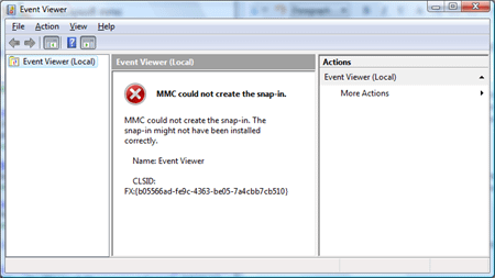 MMC could not create the snap-in. The snap-in might not have been installed correctly. Name: Event Viewer.