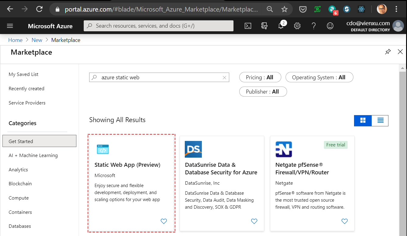 Azure Static Web App - Search