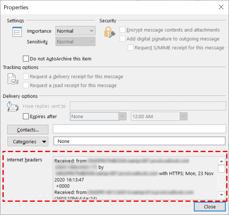 Microsoft Outlook Properties dialog - Internet headers