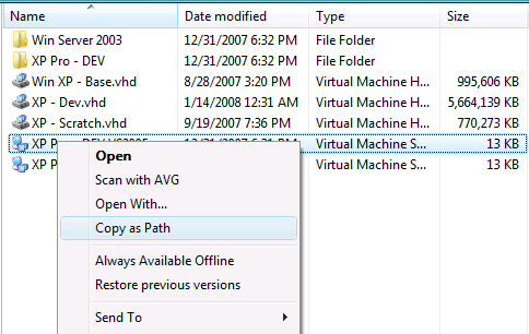 Windows Vista Copy as Path