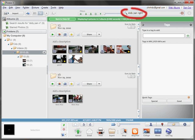 Using Picasa as a video manager