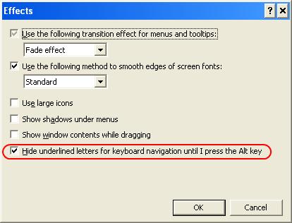 Hide underlined letters for keyboard navigation until I pres the Alt key